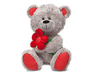 Мягкая игрушка «LAVA» (LF1096) медведь с красным цветком, 22 см (звук. эффекты)