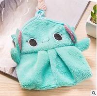 Детское мини полотенце для рук из микрофибры Слоненок голубой