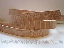 """Ременная полоса из кожи растительного дубления с тиснением """"КРОКОДИЛ"""" 40 мм, толщина 3,5 мм"""