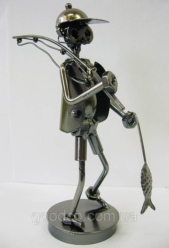 """Техно-арт статуэтка """"Рыбак с рыбой""""  купить"""