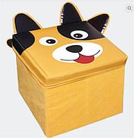"""Пуф детский """"Зоопарк-Собака"""", жёлтый, 30*30*30см, в пак. 31*31см"""