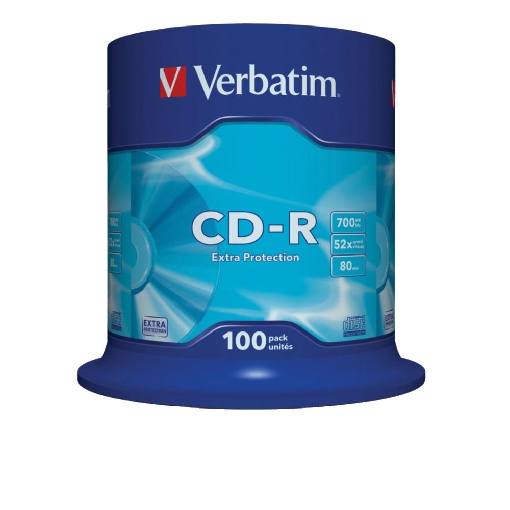 Диск CD-R 100 шт. Verbatim, 700Mb, 52x, Extra