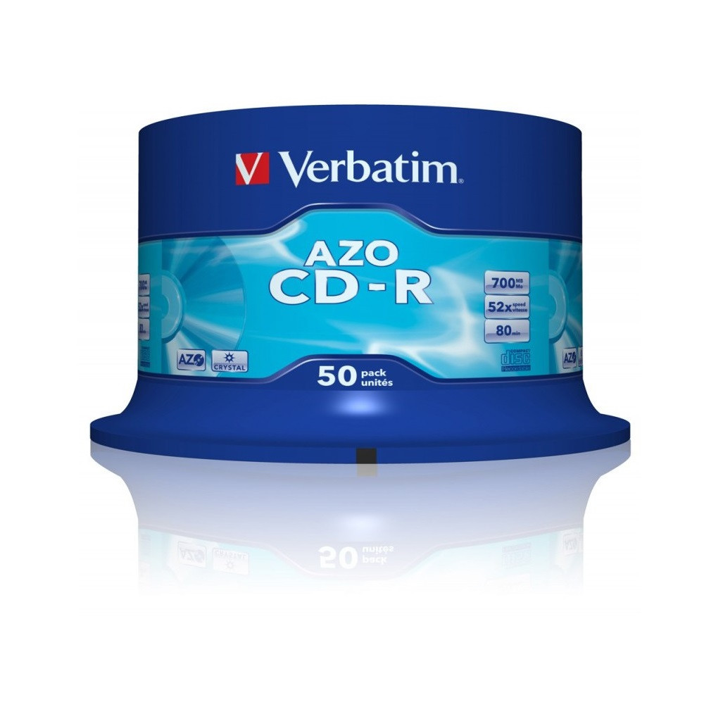 Диск CD-R 50 шт. Verbatim, 700Mb, 52x, AZO Crystal