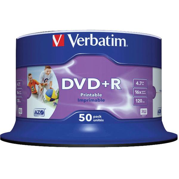 Диск DVD+R 50 шт. Verbatim, 4.7Gb, 16x, Printable