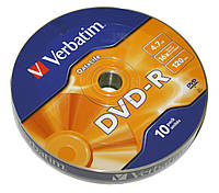 Диск DVD-R 10 шт. Verbatim, 4.7Gb, 16x, Data Life, Wrap (43839)