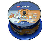 Диск DVD-R 50 шт. Verbatim, 4.7Gb, 16x, Printable