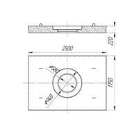 Железобетонная плита дорожная с отверстием под люк ПД6