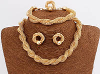Комплект ожерелье,серьги,браслет и кольцо покрытие золото