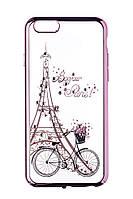 Пластиковый чехол для iphone 6/6s Париж -велосипед/розовый бампер