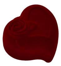 Футляр для кольца бордовый сердце с розой