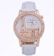 Женские наручные часы Эйфелева башня с белым ремешком