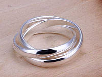 Тройное кольцо, покрытое серебром р 16,17,18,19