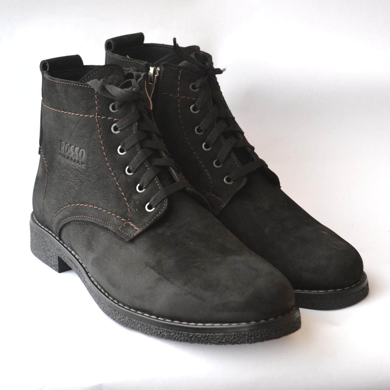 Классические зимние мужские ботинки черный нубук на меху теплые Rosso Avangard. Falconi Pa Nub