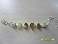 Браслет с натуральным камнем оникс в серебре. Браслет с ониксом