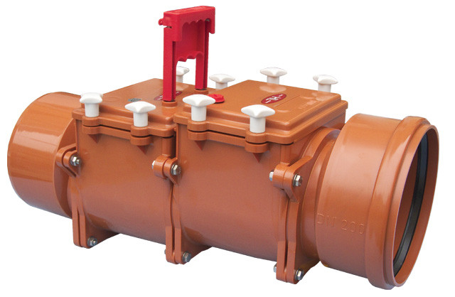 2-х камерный канализационный затвор с ручной фиксацией одной заслонки в закрытом положении HL720.2