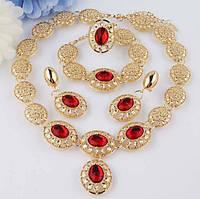 Позолоченный комплект ожерелье,серьги,браслет и кольцо