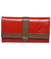 Женский кошелек / миниклатч красного с коричневым цвета из натуральной кожи премиум качества