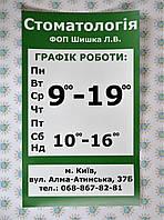 Наклейка на стекло Режим работы для Аптеки