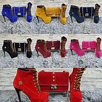 Женский Модный Набор из сумки и ботинок на высоком каблуке в цветах #1