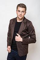 Пиджак мужской, стильный, на одной пуговице 2402/1 (Шоколадно-коричневый)