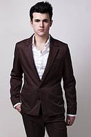 Пиджак мужской с контрастными вставками 2404 (Коричневый)