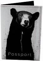 Красивая обложка для паспорта из кожзама МИШКА 01-02-111  Девайс Мейкер