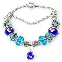 Браслет Пандора из сплава, С бусинами из хрусталя и лэмпворк, Цвет: Сине-голубой, Размер: 20см, (УТ100006441)