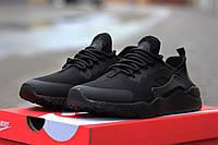 Мужские кроссовки Nike Huarache, пресс кожа, черные / кроссовки мужские Найк Хуараче, удобные