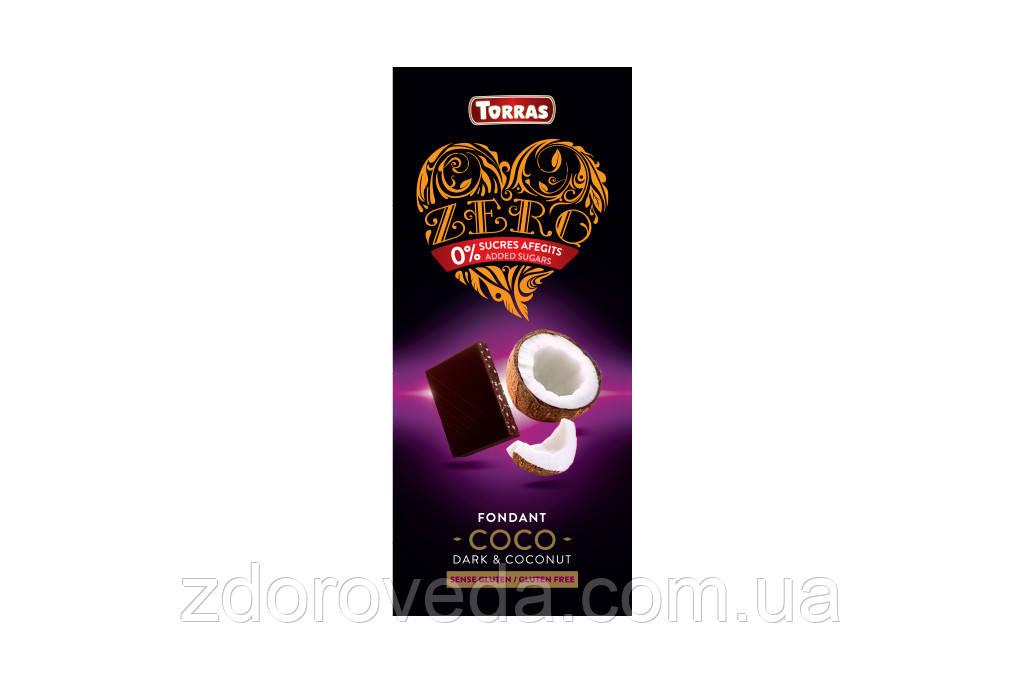 Черный шоколад с Кокосом, без сахара, Zero Torras