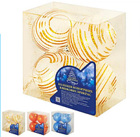 Елочные игрушки Шары новогодние цвета ассорти 8 см 4 шт в коробке