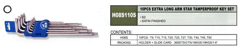 Набір кутових ключів TORX з центрированным штифтом EXTRA LONG Т9-Т50