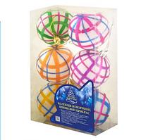 Елочные игрушки Шары новогодние цвета ассорти 6 см 6 шт в коробке