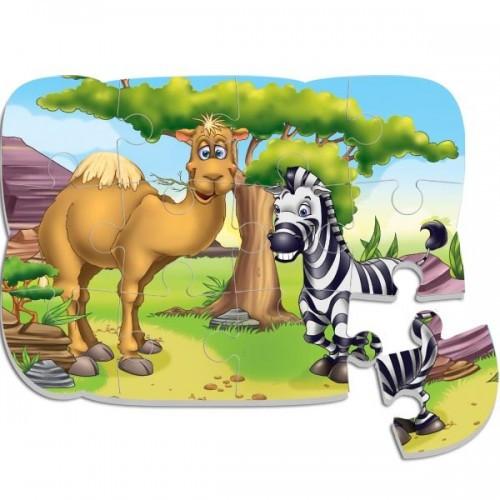 Пазлы на магните Верблюд и зебра А5