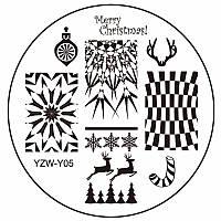 Пластина диск для стемпинга YZW-Y05 новогодний,зимний