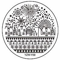 Пластина диск для стемпинга YZW-Y09 новогодний,зимний