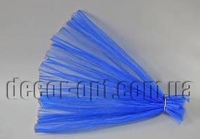 Органза гофрированная синяя с люрексом 48 см / 2м