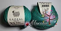 Пряжа Baby cotton XL Gazzal Бэби коттон XL Газал, 3426, изумруд