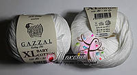 Пряжа Baby cotton XL Gazzal Бэби коттон XL Газал, 3432, белый