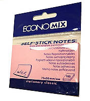 Бумага с липким слоем Economix Е20931-09 100 листов розовая