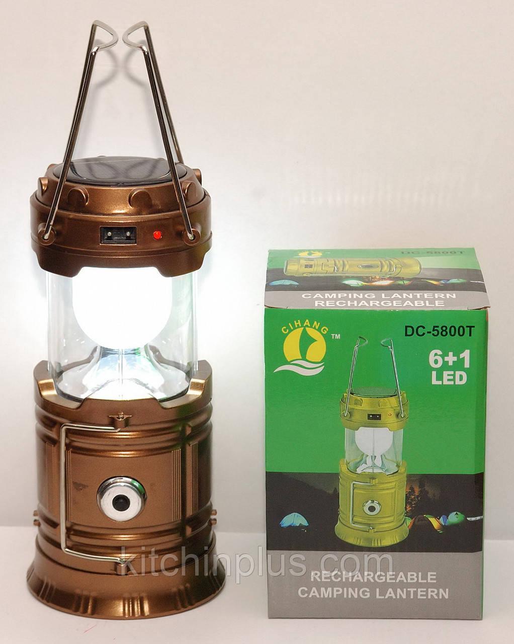 Кемпинговая LED лампа BL-5800T c POWER BANK Фонарь фонарик солнечная панель Золотой