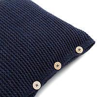 Подушка декоративная Ohaina на пуговицах вязаная 40х40  цвет чернильный
