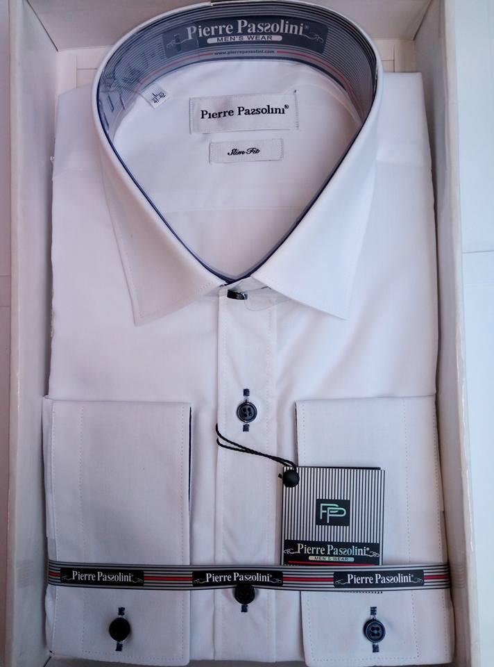 Мужская белая рубашка приталенная с длинным рукавом Pierre Pasolini