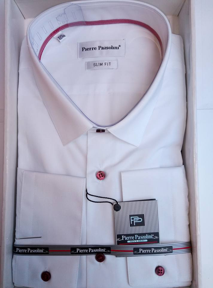 0cdb656f12b Рубашка белая мужская приталенная с длинным рукавом Pierre Pasolini ...