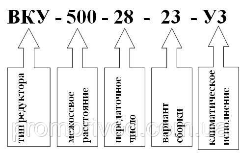 Пример условного обозначения редуктора ВКУ-500