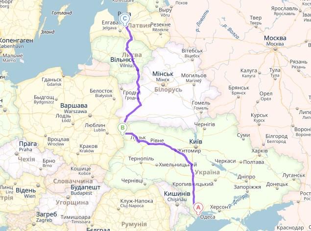 Одесса, Украина → Ягодын → Рига, Латвия