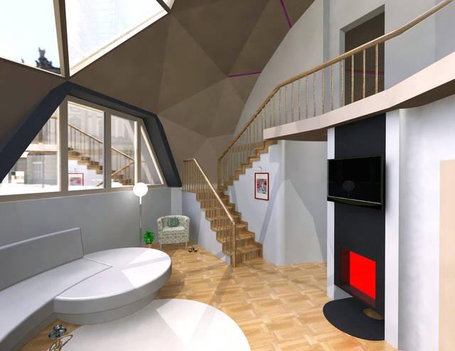 Визуализация, планировка купольного дома.