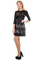 Стильное молодежное платье с кожаными вставками 536