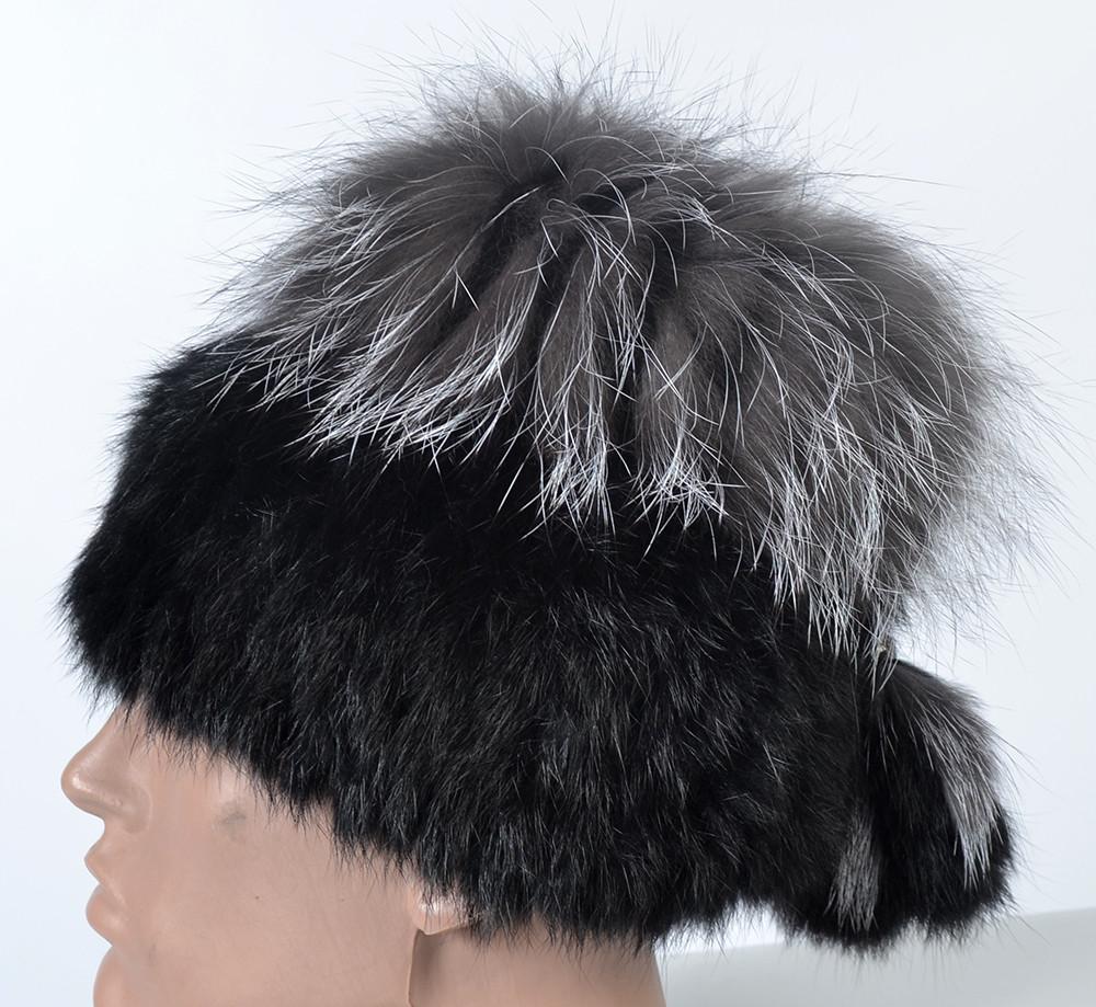 ... Жіноча шапка з натурального хутра - кролик   чорнобурка 1b29328f4443f