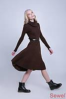Расклешенное теплое вязаное платье