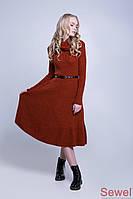 Женское теплое платье-клеш